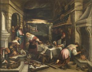 cristo accolto da marta e maria XVI XVII secTrento museo diocesano pittore bassanesco